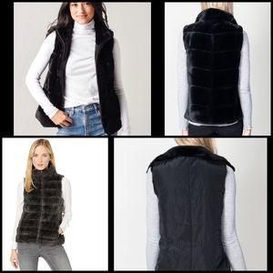 Dylan Reversible Fur Faux Fur Black Love Vest Sz S